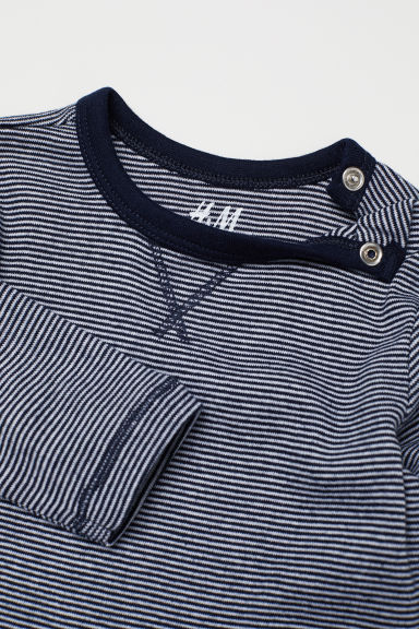 Jersey top - Dark blue/Narrow striped - Kids | H&M
