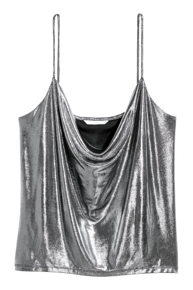 Draped top - Silver-coloured/Coated - Ladies | H&M IE