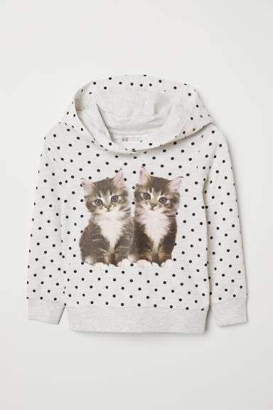 Printed hooded top - Light grey marl/Kittens - Kids | H&M