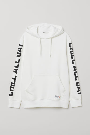 Printed hooded top - White/Chill All Day - Men | H&M