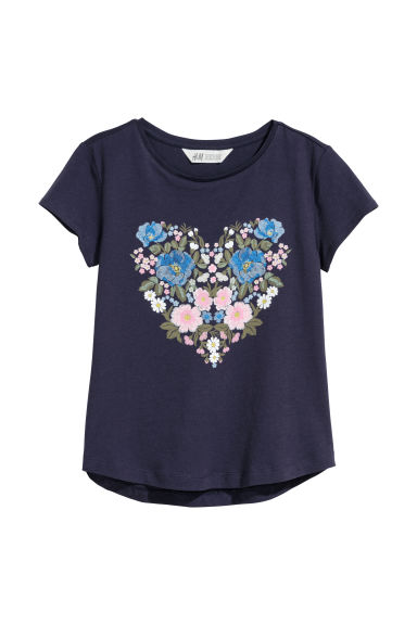 Printed jersey top - Dark blue/Heart -  | H&M