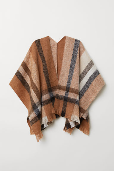 Fringed poncho - Beige/Checked - Ladies | H&M CN