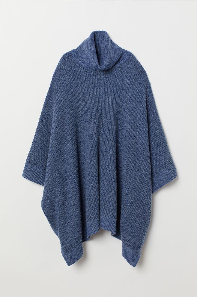 7f0e5c05 ... Oversized polo-neck jumper - Blue marl - Ladies | H&M ...