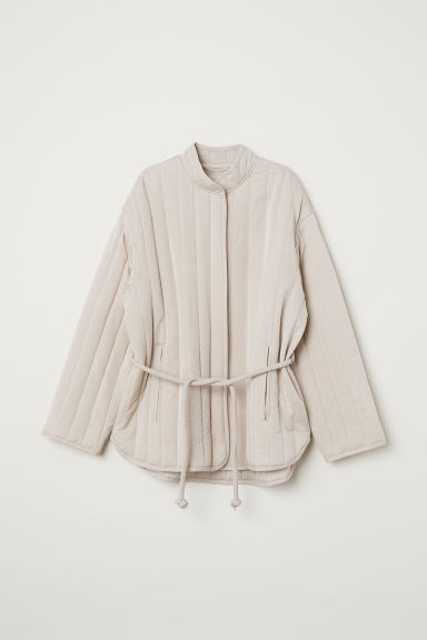 Quilted lyocell-blend jacket - Light beige - Ladies | H&M GB