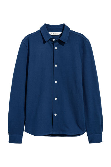 Cotton piqué shirt - Dark blue - Kids | H&M