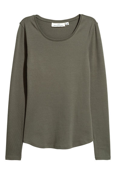 Long-sleeved jersey top - Khaki green - Ladies | H&M