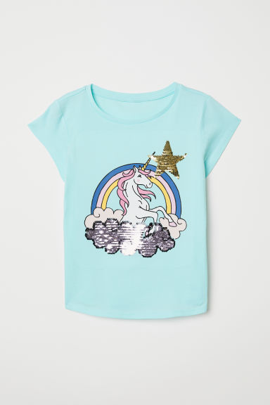 Top with reversible sequins - Light turquoise/Unicorn - Kids | H&M
