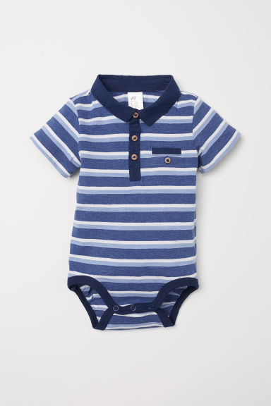 Bodysuit with a collar - Dark blue/Striped - Kids | H&M