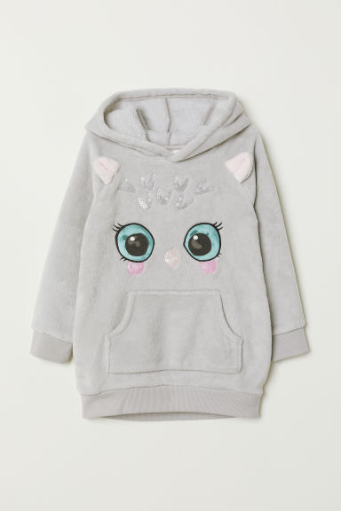 Hooded fleece top - Light grey/Owl - Kids | H&M