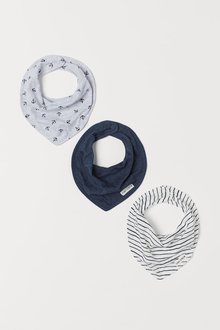 3-pack triangular scarves - Grey marl/Anchors - Kids | H&M
