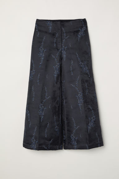 Jacquard-patterned trousers - Black/Patterned -  | H&M