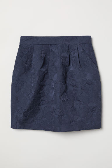 Gonna strutturata - Blu scuro/jacquard - DONNA | H&M IT