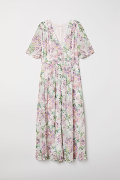 V-neck chiffon dress - White/Floral - Ladies | H&M