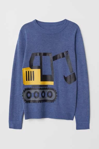Fine-knit jumper - Blue marl/Digger - Kids | H&M