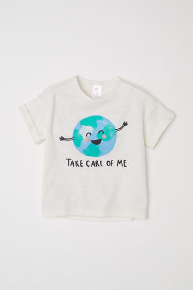 Camiseta con estampado - Blanco natural/Take Care Of Me -  | H&M ES