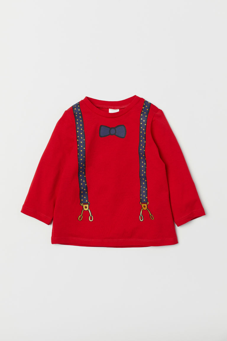 Jersey top - Red/Braces - Kids | H&M CN