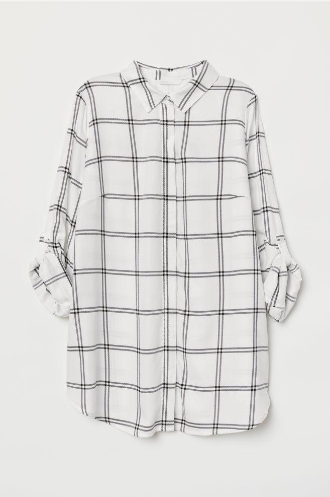 390dcdca MAMA Shirt - White/Black checked - Ladies | H&M ...