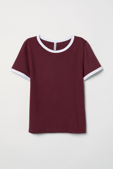Korte top - Bordeauxrood - DAMES | H&M NL
