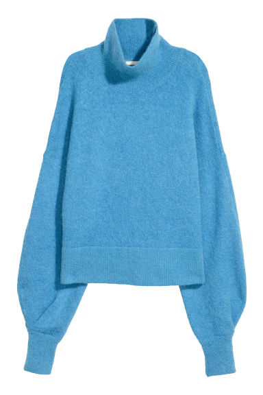 Mohair-blend polo-neck jumper - Blue -  | H&M CN
