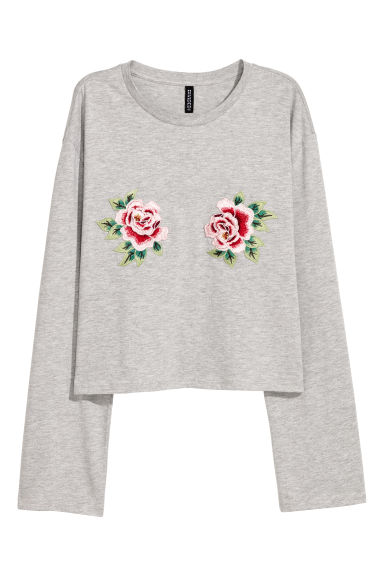 Jersey top - Light grey marl -  | H&M CN