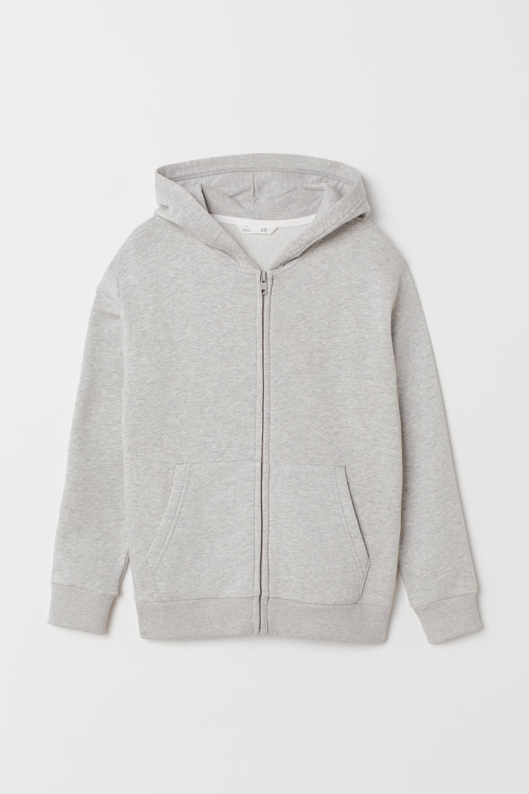 Hooded jacket - Light grey marl - Kids | H&M