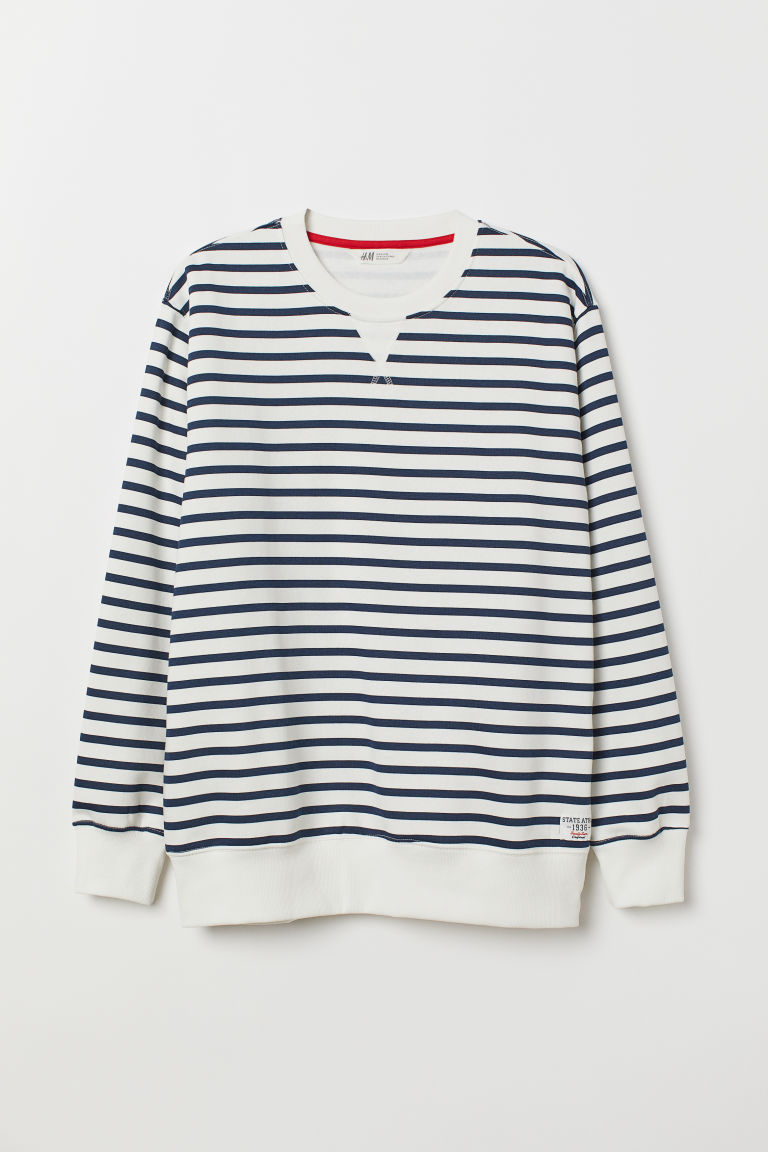 Sweater - Wit/donkerblauw gestreept - HEREN | H&M BE