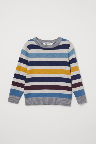 Fine-knit jumper - Light grey/Multistriped - Kids | H&M CN