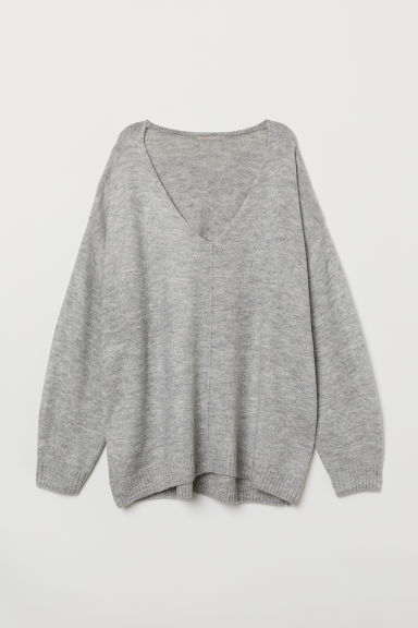 H&M+ V-neck Sweater - Light gray melange - Ladies | H&M US