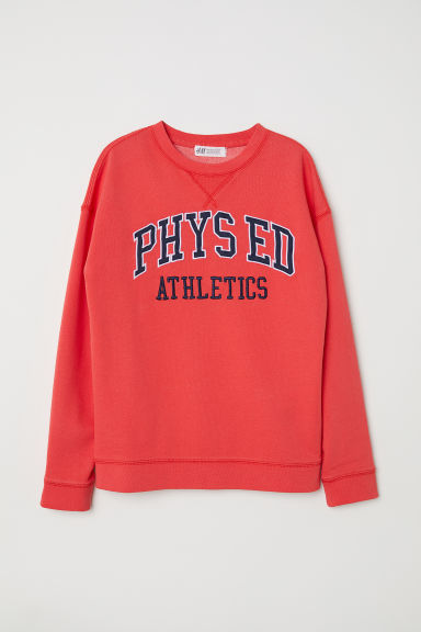 Sweatshirt with a print motif - Bright red - Kids | H&M CN