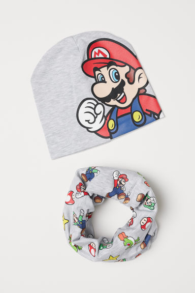 Hat and tube scarf - Light grey marl/Super Mario - Kids | H&M
