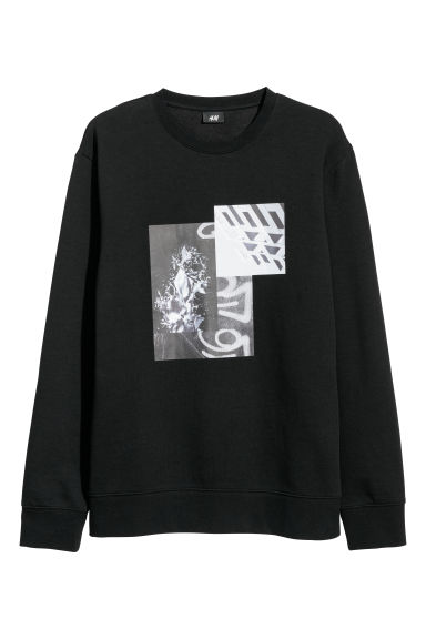 Printed sweatshirt - Black - Men | H&M GB