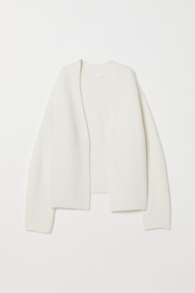 Knitted wool-blend cardigan - Natural white - Ladies | H&M CN