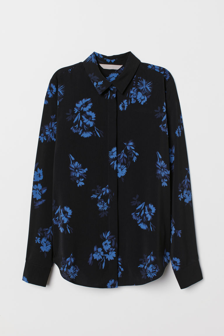 Long-sleeved blouse - Black/Blue floral - Ladies | H&M CN