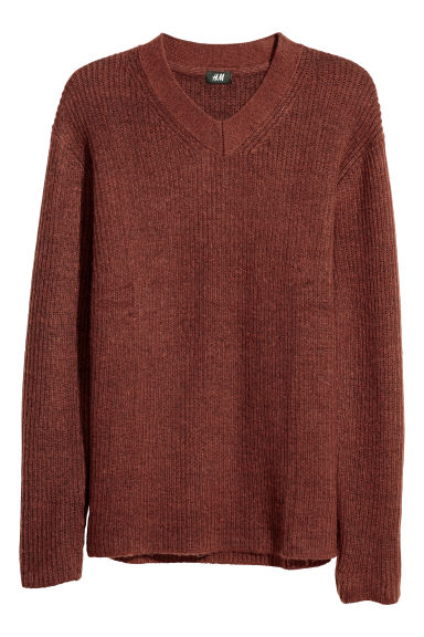 V-neck jumper - Rust brown -  | H&M