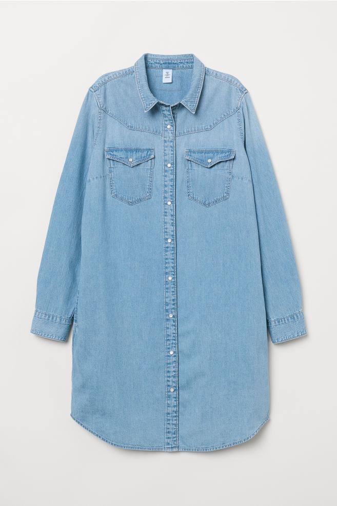 941e37145f78 Džínsové košeľové šaty - svetlá džínsovomodrá -