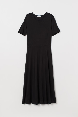 Calf-length jersey dress
