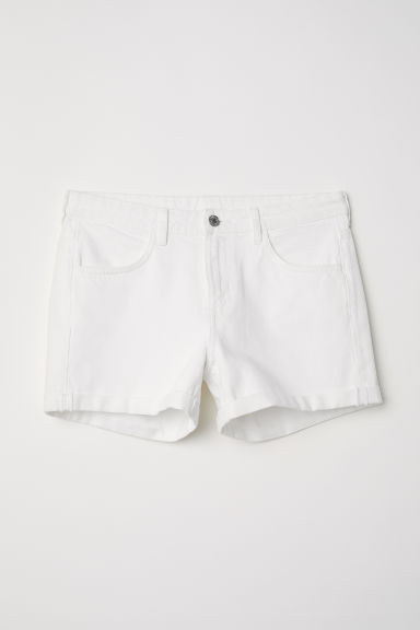 Denim shorts - White denim - Ladies | H&M