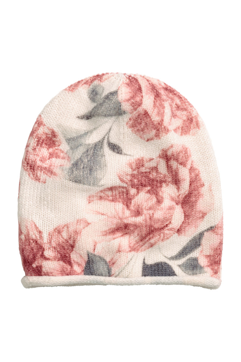 Knitted hat - Natural white/Floral - Ladies | H&M IE