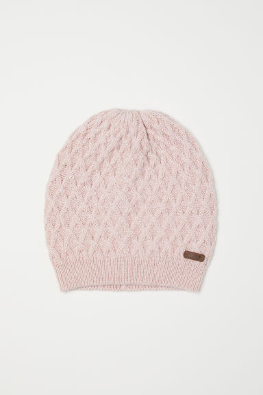 Cable-knit hat - Powder pink/Glittery -  | H&M
