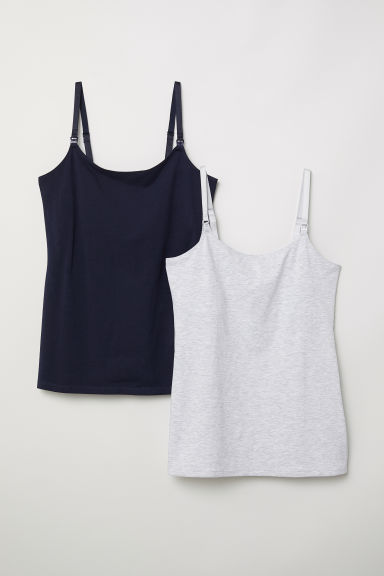 MAMA 2-pack nursing tops - Dark blue/Light grey - Ladies | H&M CN