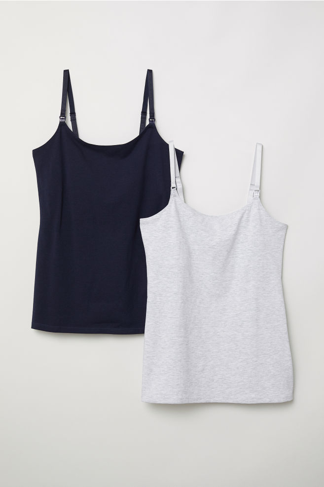 cc9822e6be29 MAMA 2-pack Nursing Tank Tops - Dark blue/light gray - Ladies | H&M US