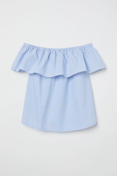 Off-the-shoulder blouse - Light blue/White striped -  | H&M