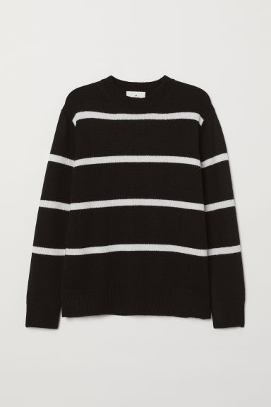 Cashmere-blend jumper - Dark blue/Striped - Men | H&M