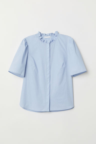Puff-sleeved blouse - Light blue - Ladies | H&M