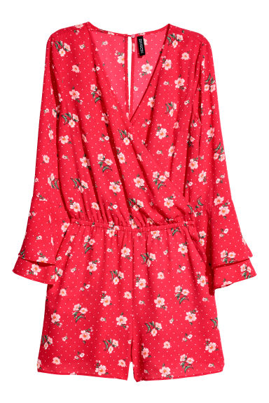 V-neck playsuit - Red/Floral -  | H&M