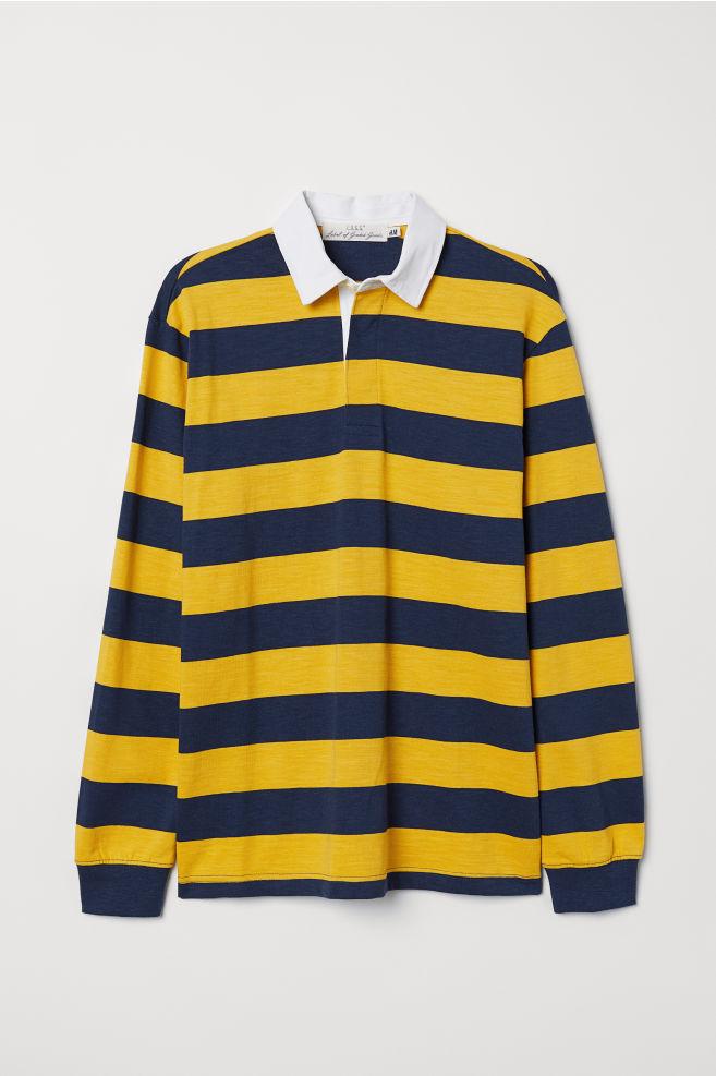 0762852698e Slub Jersey Rugby Shirt - Dark blue/yellow striped - Men | H&M ...