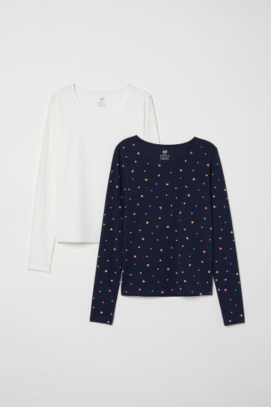 2-pack jersey tops - Dark blue/Spotted - Kids | H&M