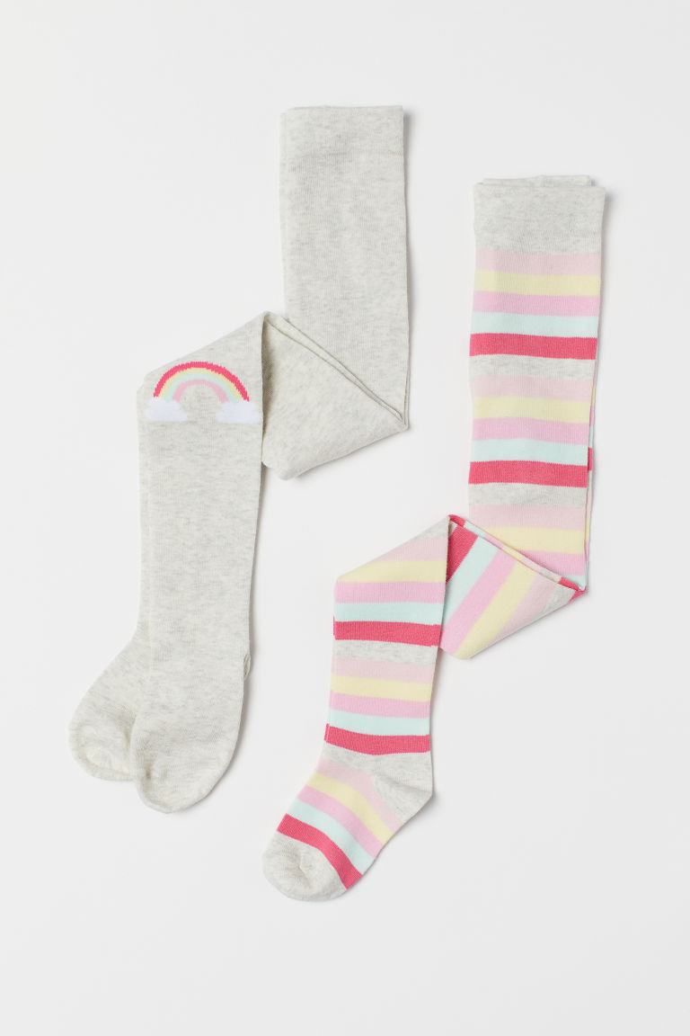 2-pack fine-knit tights - Light grey/Multistriped - Kids | H&M