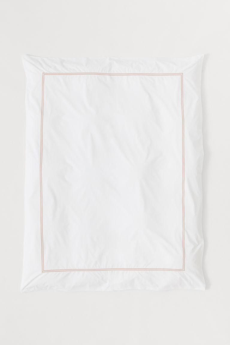 Cotton Percale Duvet Cover - White/powder pink - Home All | H&M US