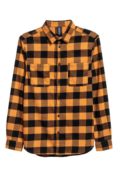 Flannel shirt - Lion yellow/Black checked - Men | H&M GB